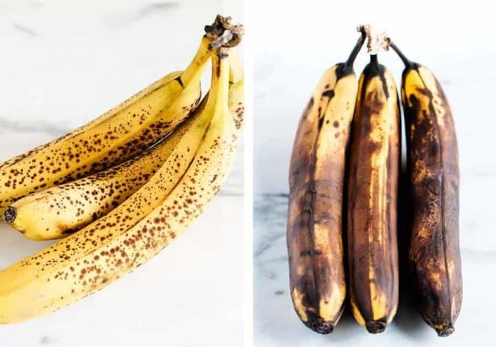 brown and spotty bananas on counter
