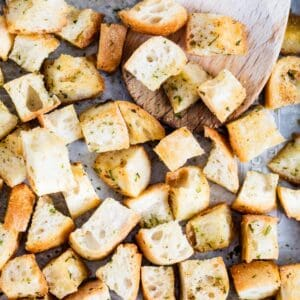 croutons baked on a pan