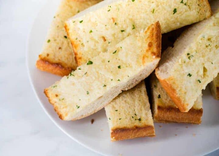 sliced garlic bread on plate