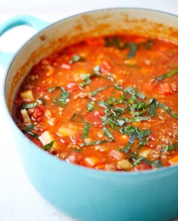 vegetable soup in a blue pot