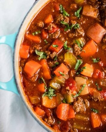 pan of hearty vegetable soup