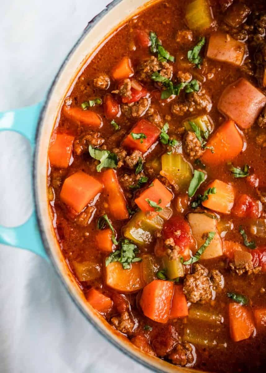 hearty vegetable soup in pan