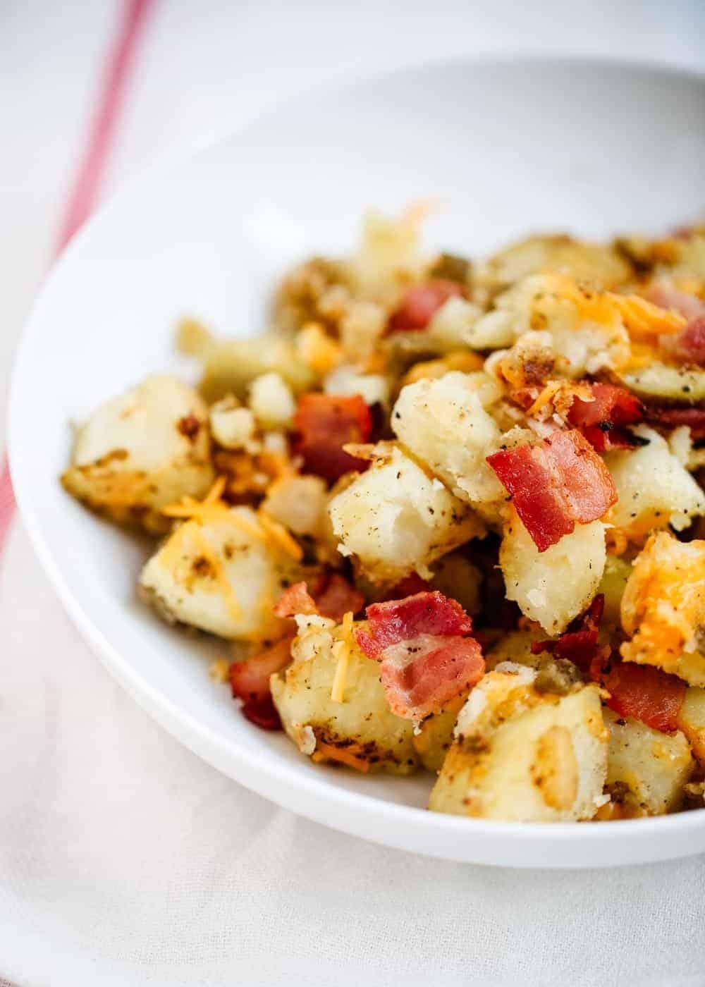 breakfast potatoes on white plate