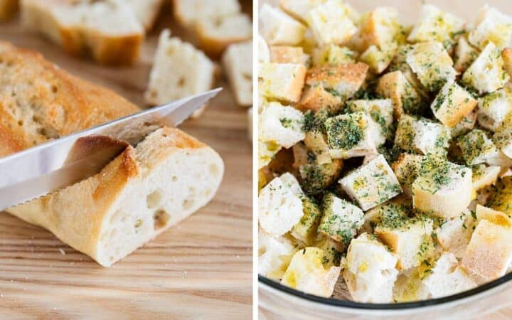 slicing bread for croutons