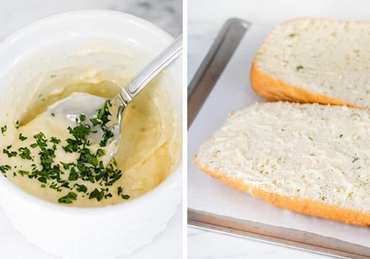 spreading garlic butter on top of french bread