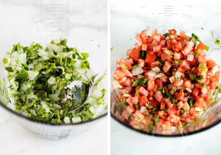 mixing together pico de gallo in bowl