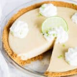 key lime pie with a slice taken out