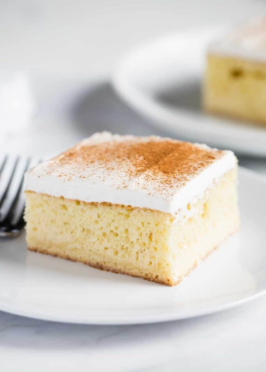 tres leches cake on plate