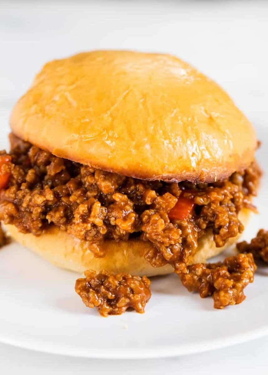 close up of a sloppy joe sandwich