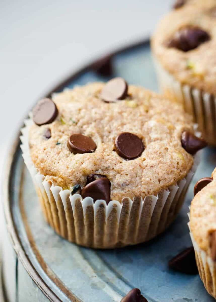 close up of zucchini muffins with chocolate chips