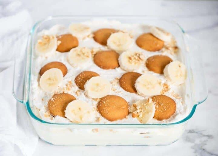 banana pudding in a glass baking dish