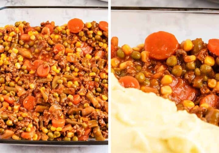 assembling shepherd's pie in baking dish