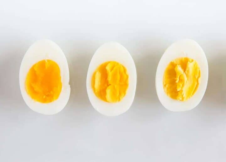 3 hard boiled eggs on counter