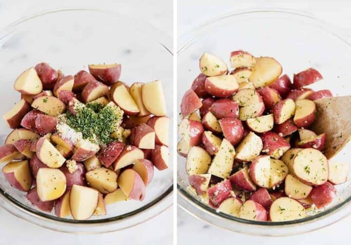 tossing red potatoes in a glass bowl with seasonings