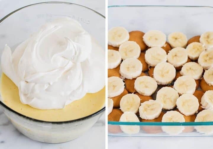 making filling for banana pudding