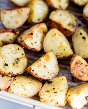 oven roasted red potatoes in pan