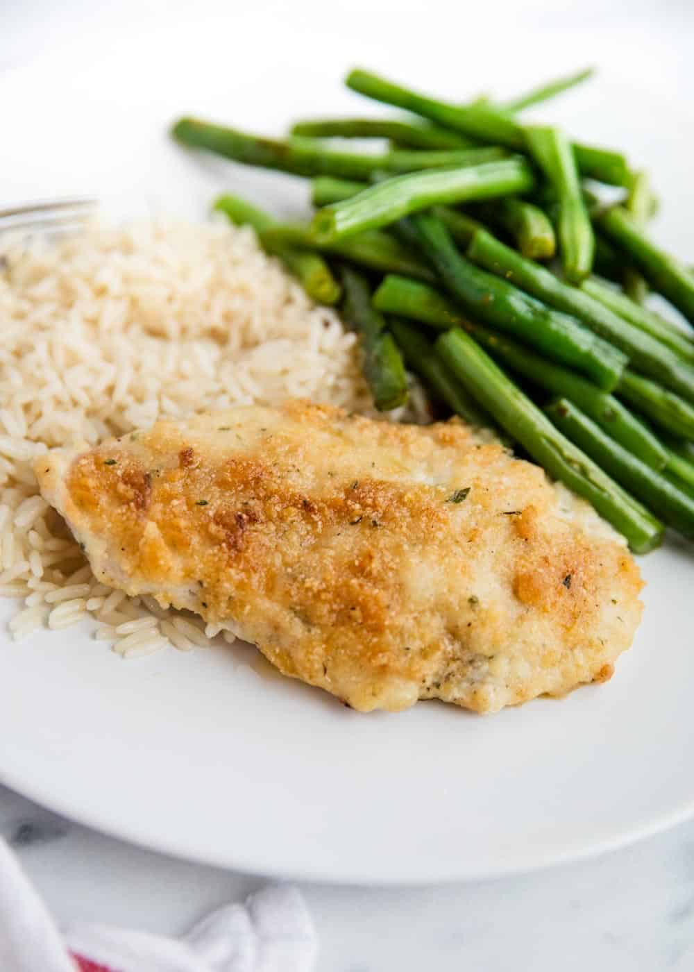 parmesan ranch chicken with green beans and rice