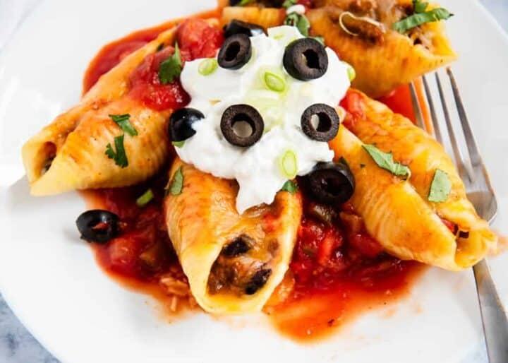 taco stuffed shells on plate