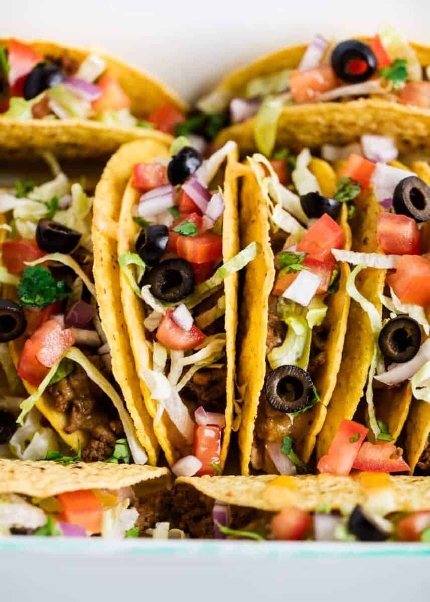 corn tacos with taco meat and topping