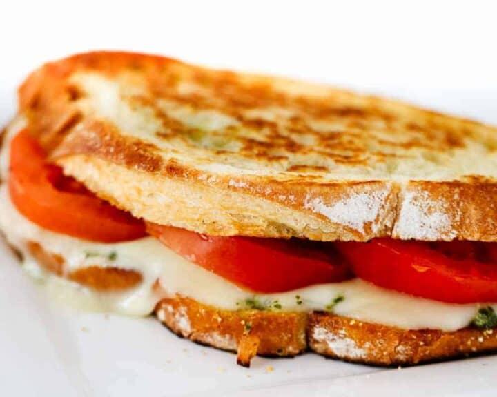 close up of a grilled caprese sandwich