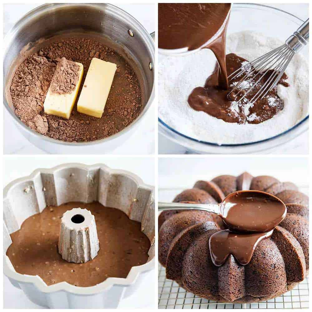 chocolate sour cream bundt cake step by step