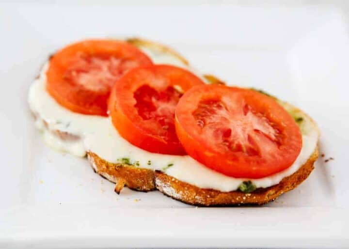 open faced grilled caprese sandwich