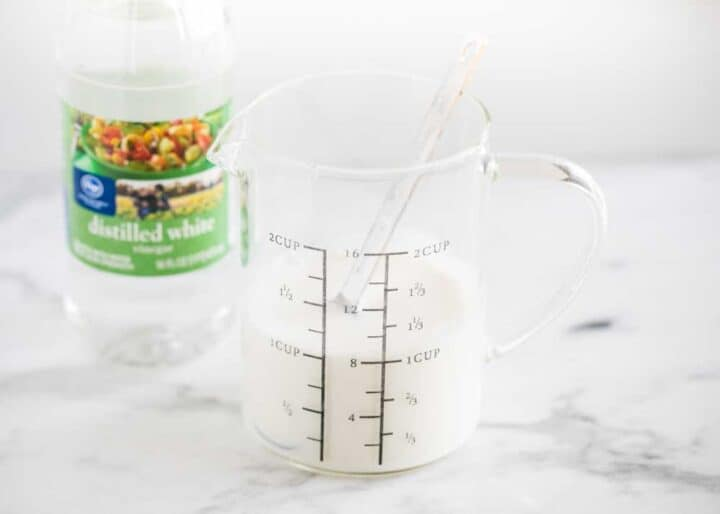 buttermilk in measuring cup on counter