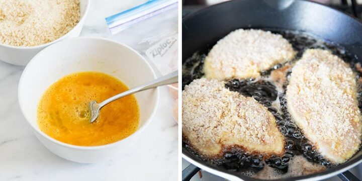 cooking crusted chicken in pan