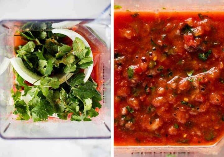 salsa ingredients in blender