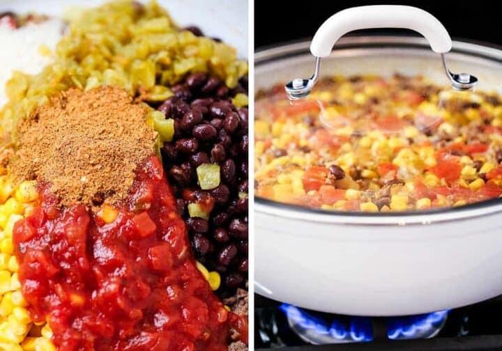making one pot burrito bowl on stove