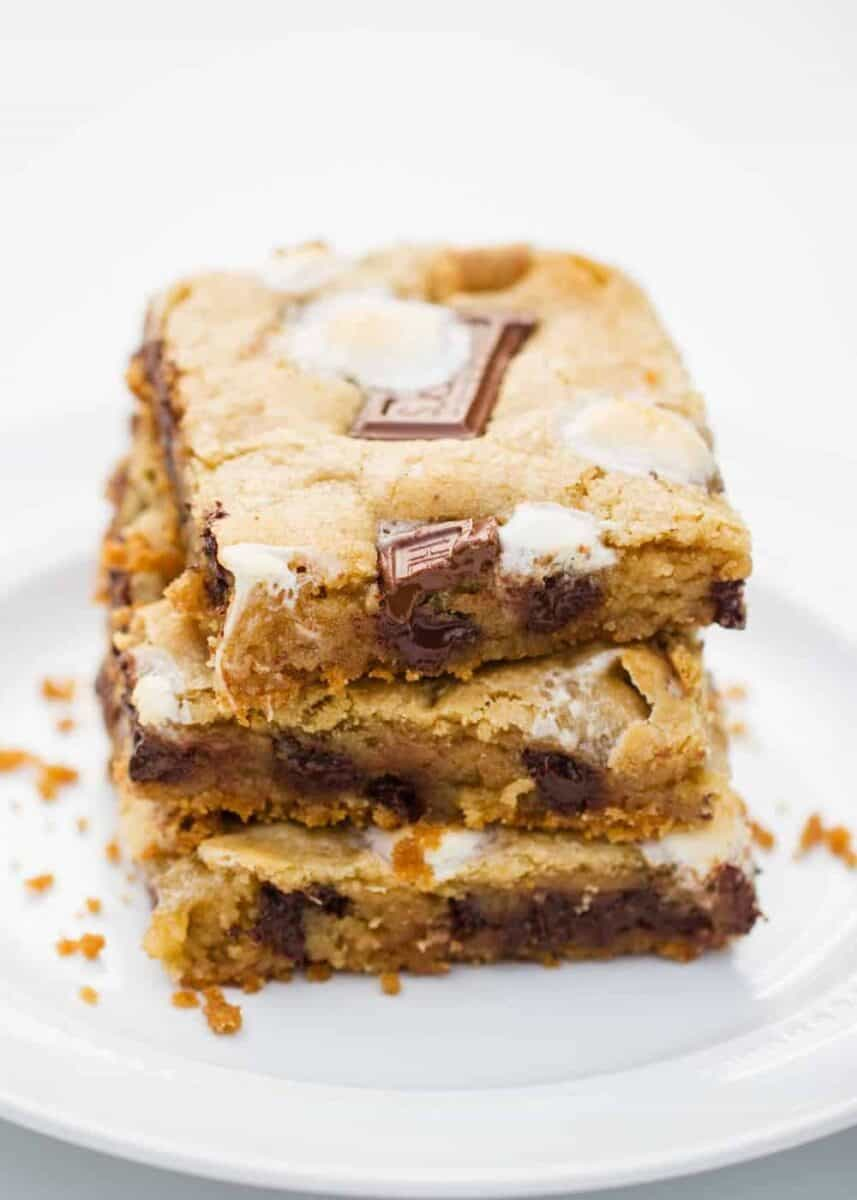 s'mores bars on a white plate