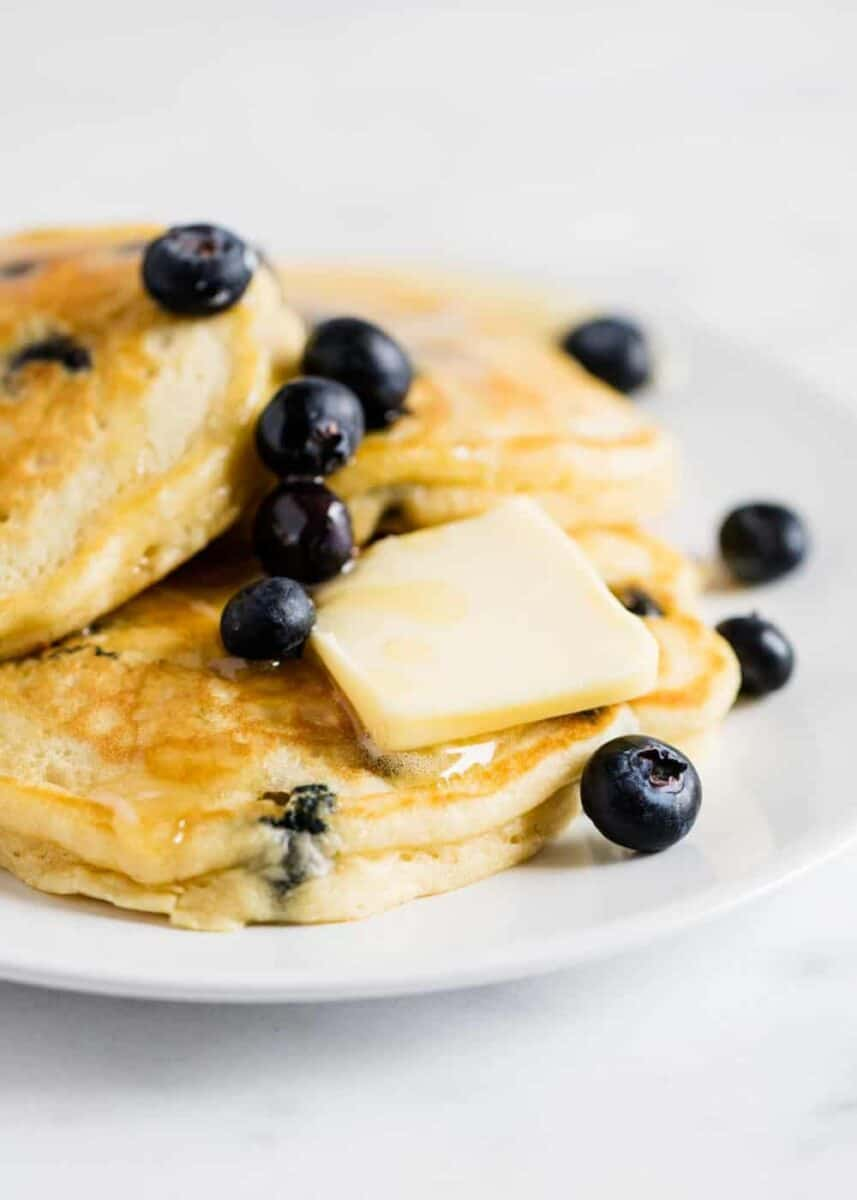 blueberry pancakes with slab of butter