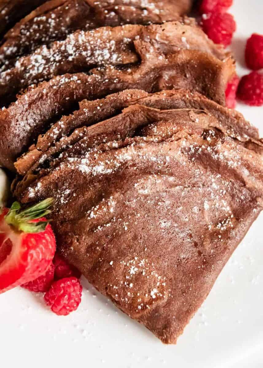 chocolate crepes with fresh berries