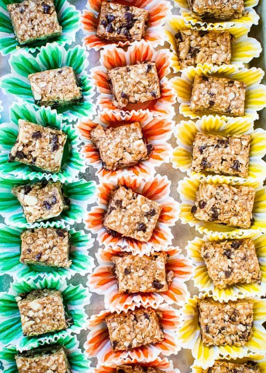 mini granola bar bites in cupcake liners