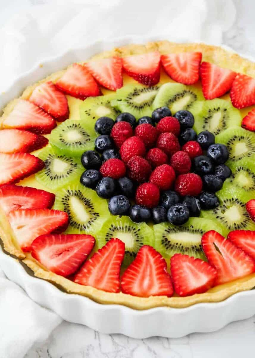 fruit tart in a tart pan