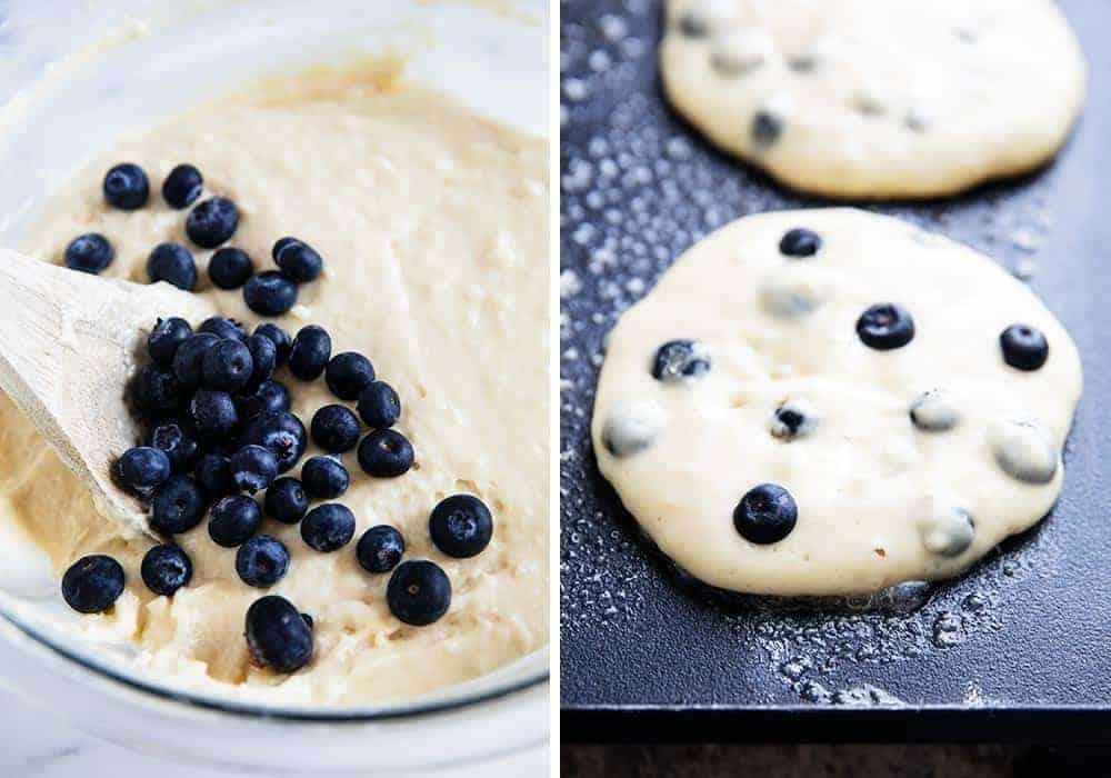 mixing blueberry pancake batter in bowl
