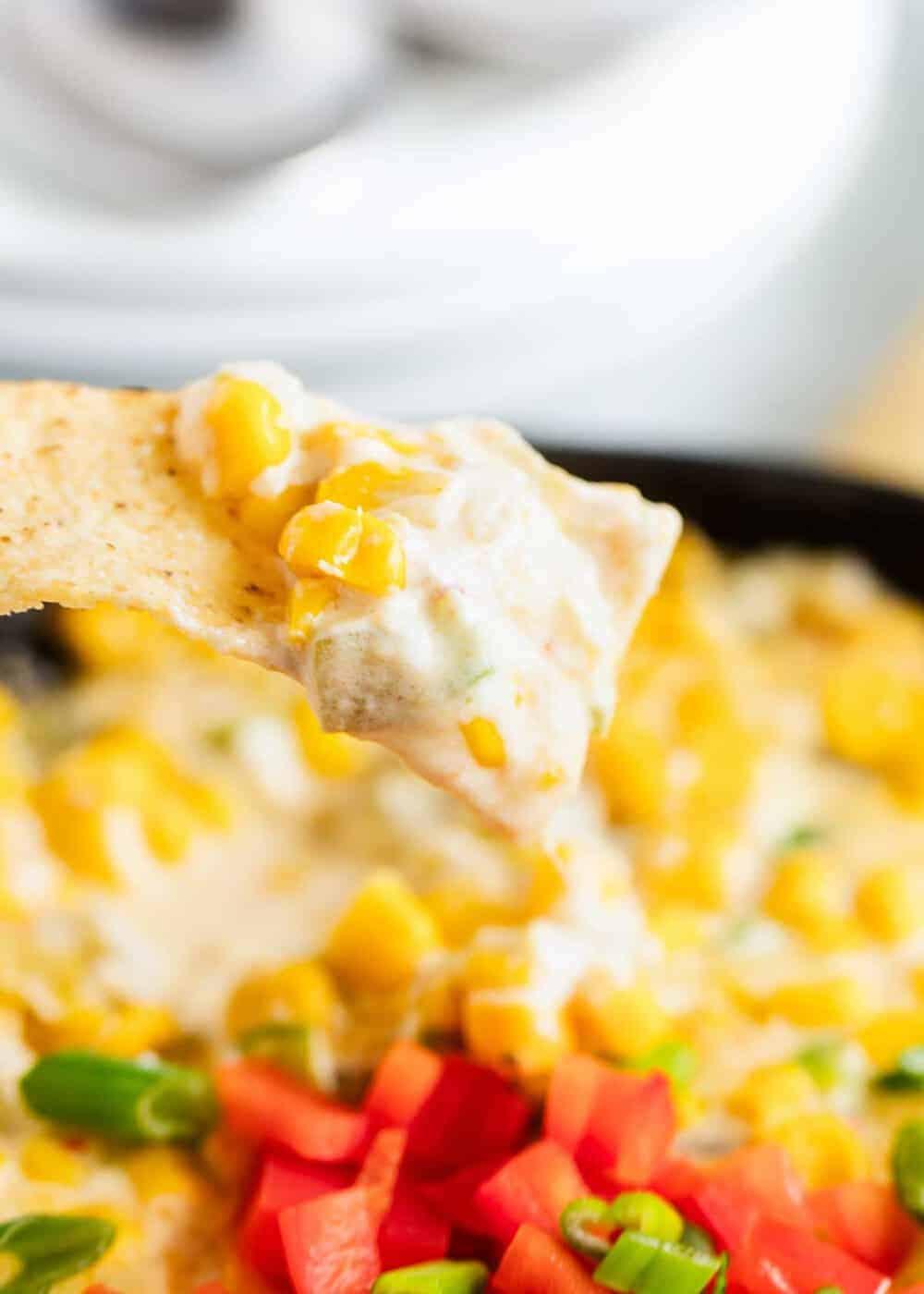 mexican corn dip on tortilla chip