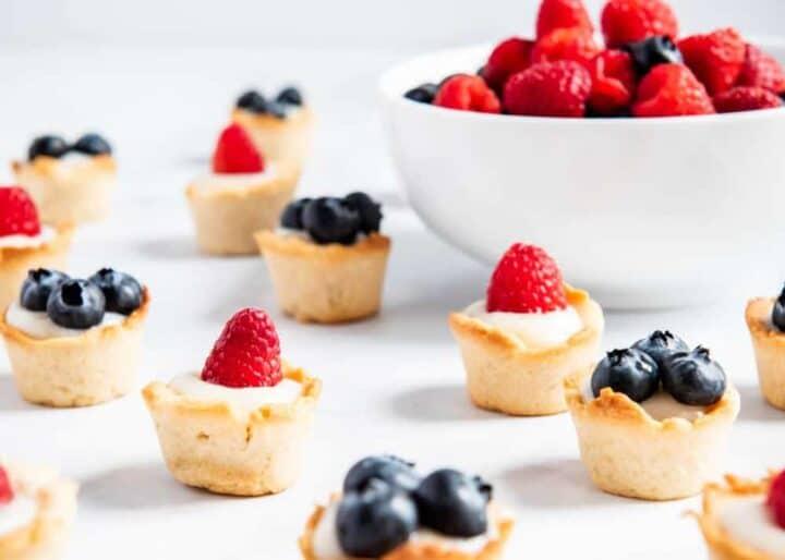 mini fruit tarts on counter