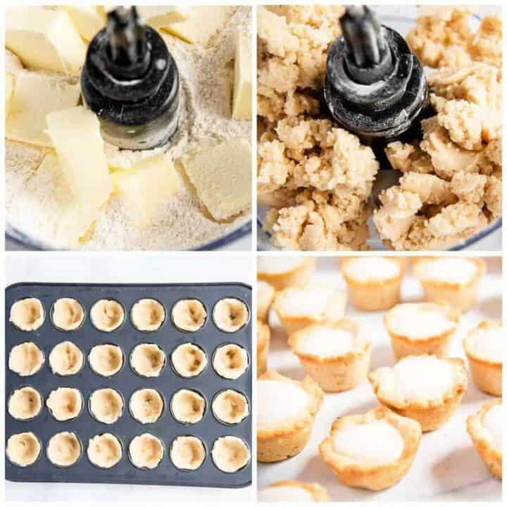collage showing to make mini tart shells