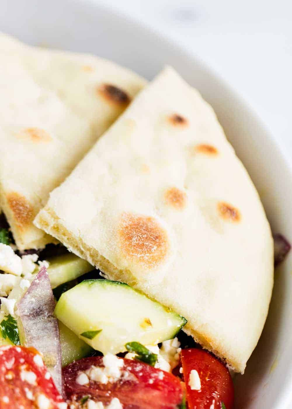 pita bread slice in a salad