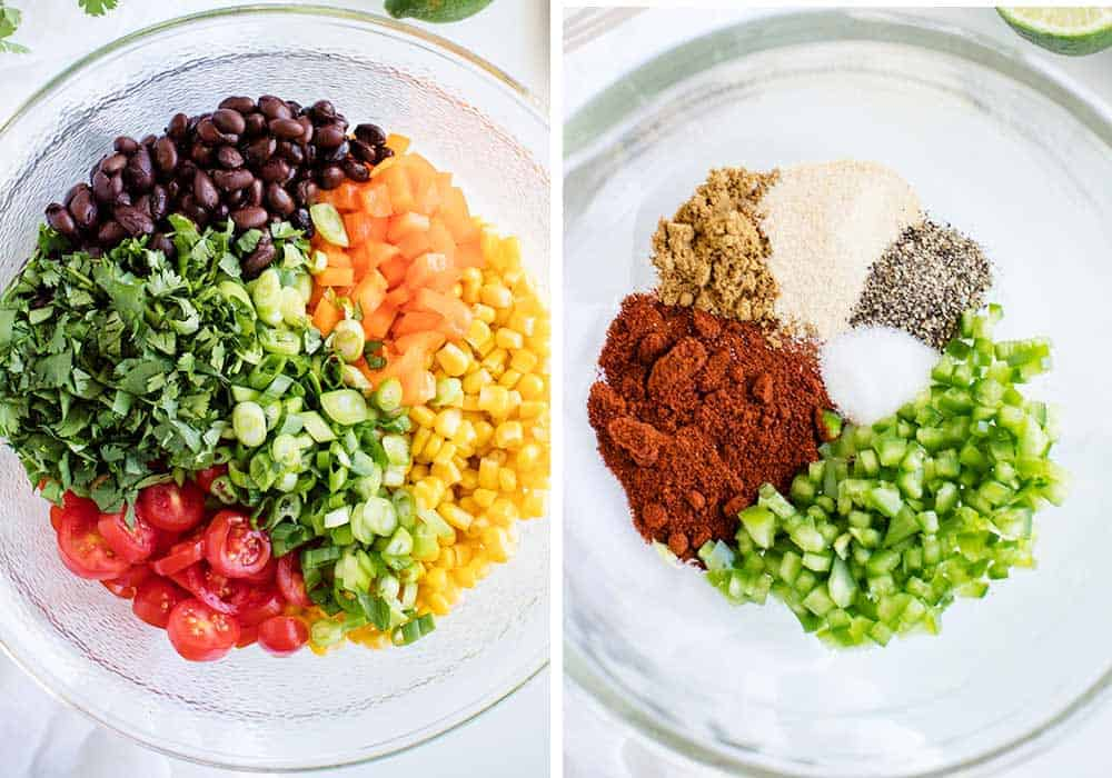 collage of one bowl with chopped veggies and one bowl with spices
