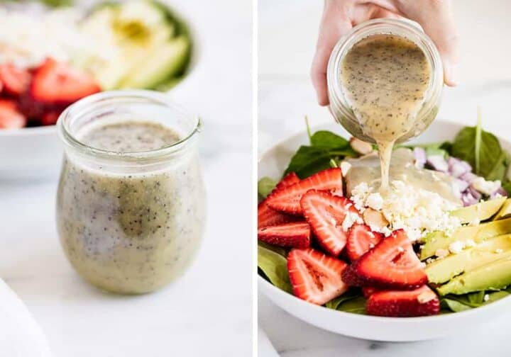 pouring poppy seed dressing over salad