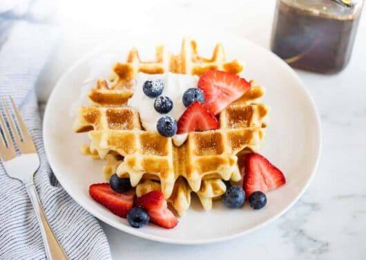belgian waffles with berries on top