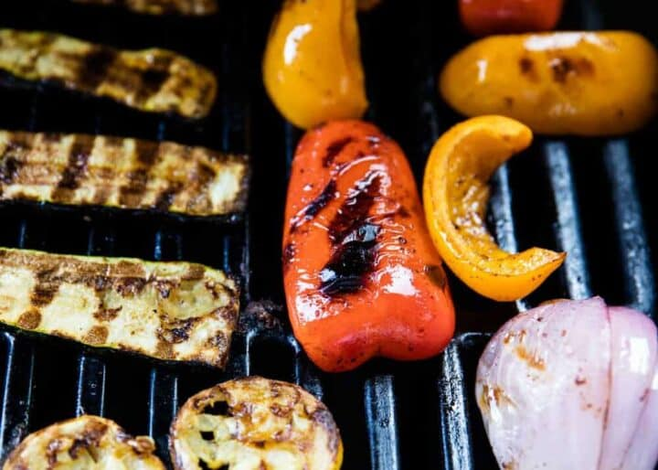 vegetables being cooked on the grill