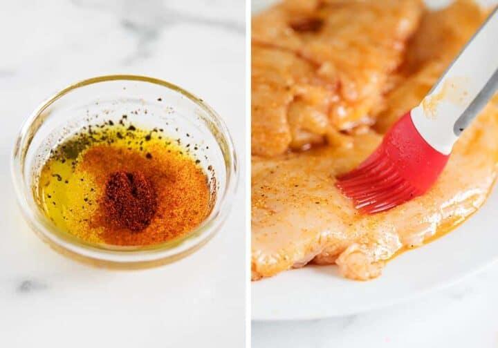 brushing marinade on raw chicken breast
