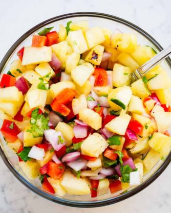 pineapple salsa in a glass bowl