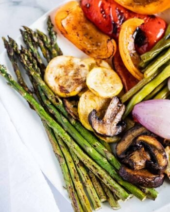 Grilled asparagus, mushrooms, squash, green beans and bell peppers