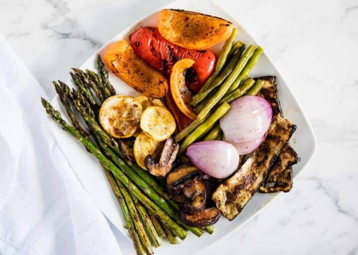 grilled vegetables on a white plate