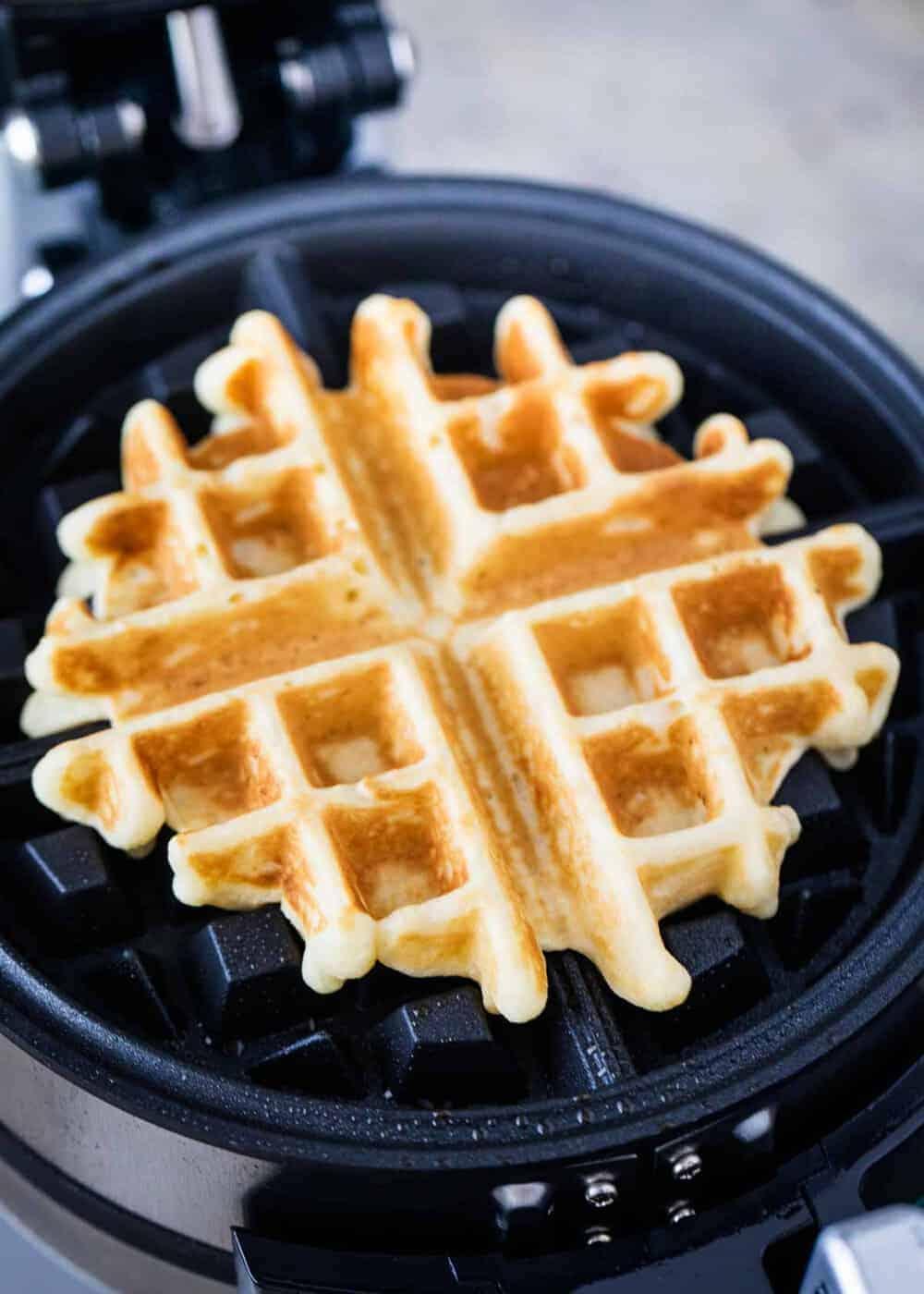 homemade waffles on waffle iron