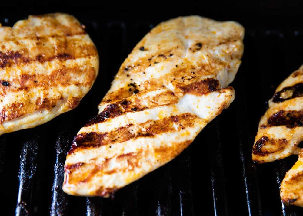 grilling chicken breast on the BBQ